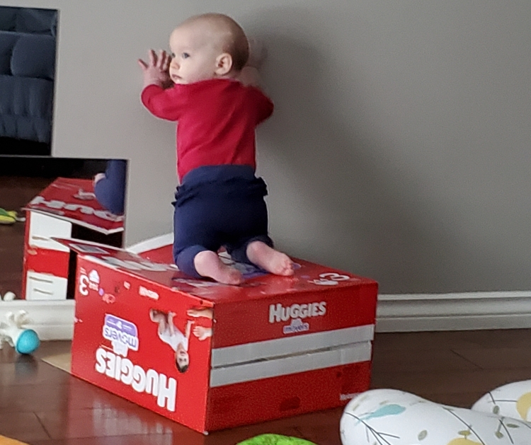 Baby, about 7 months old, kneeling on top of an empty huggies diaper box, arms supporting her against a wall.