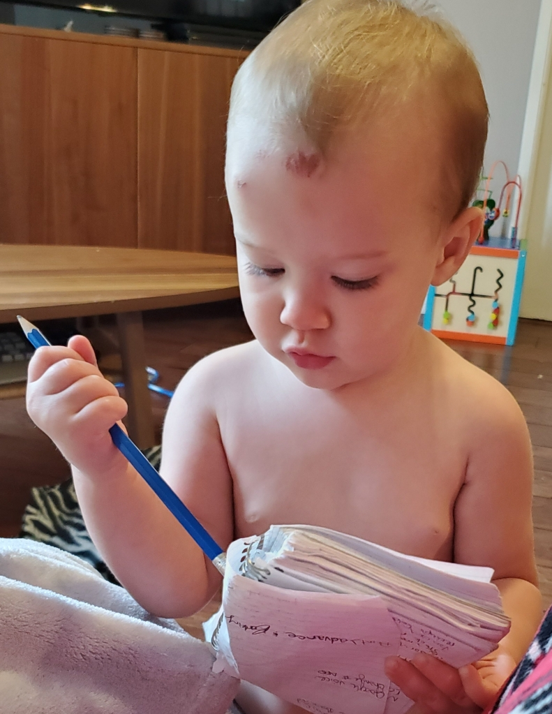 1.5 year old standing looking at a note book, appearing to erase a section