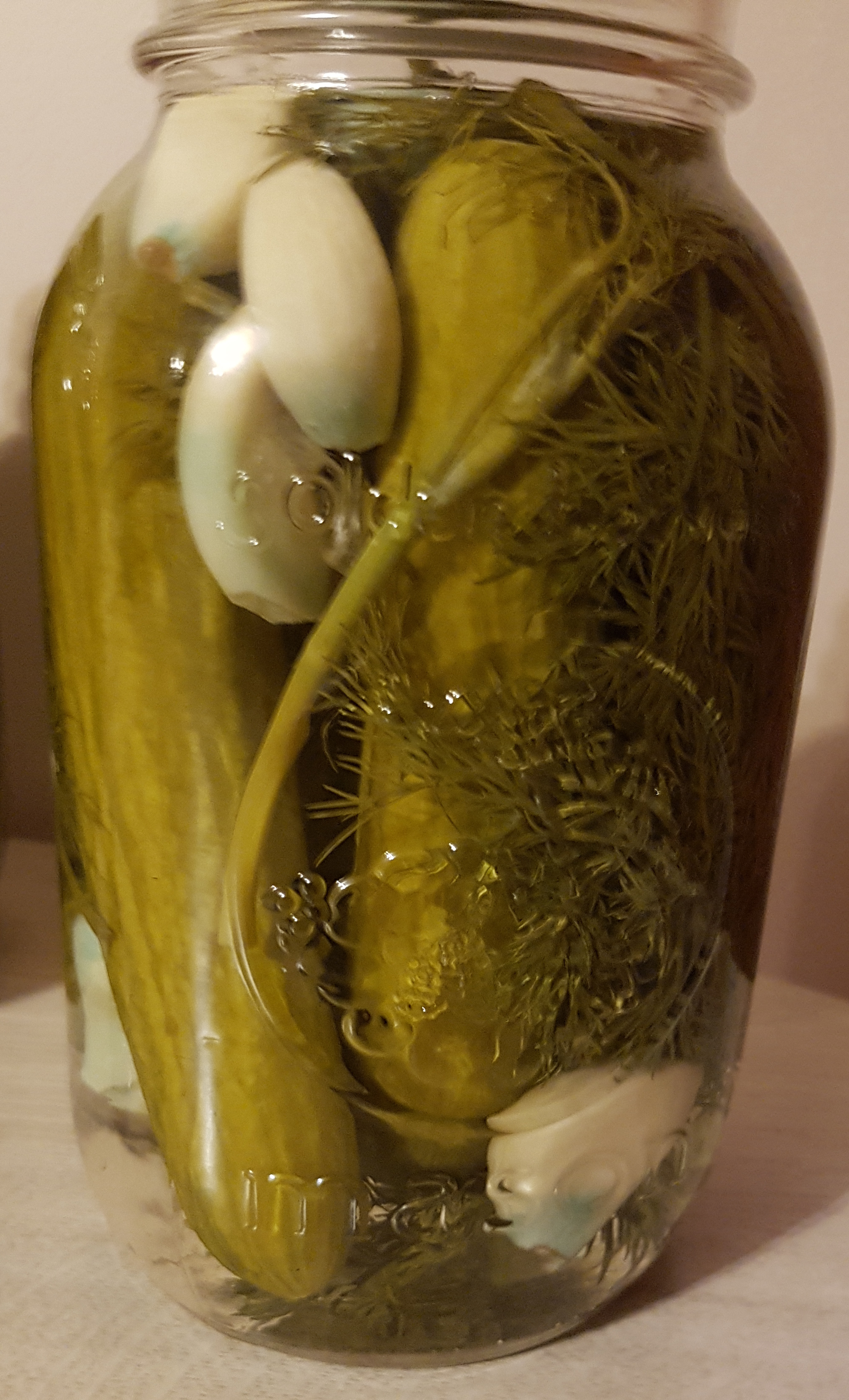 Clear glass jar filled with cucumbers, dill, garlic, and vinegar.